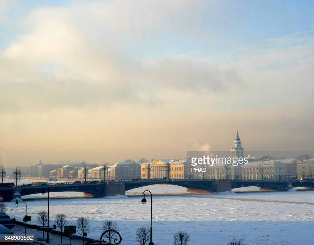 Russia St Petersburg The Neva River in winter View from the Hermitage Palace