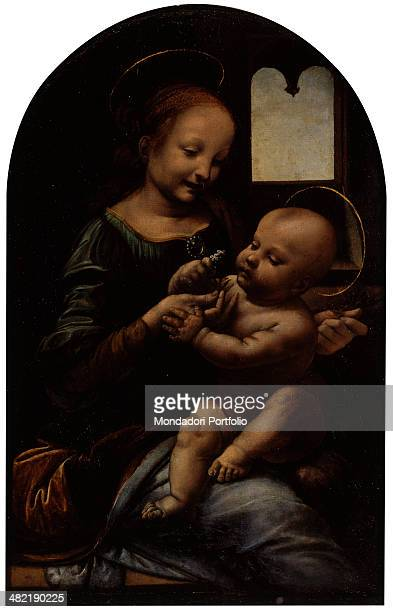 Russia St Petersburg The State Hermitage Museum Whole artwork view Mary holding baby Jesus with a flower in his little hand