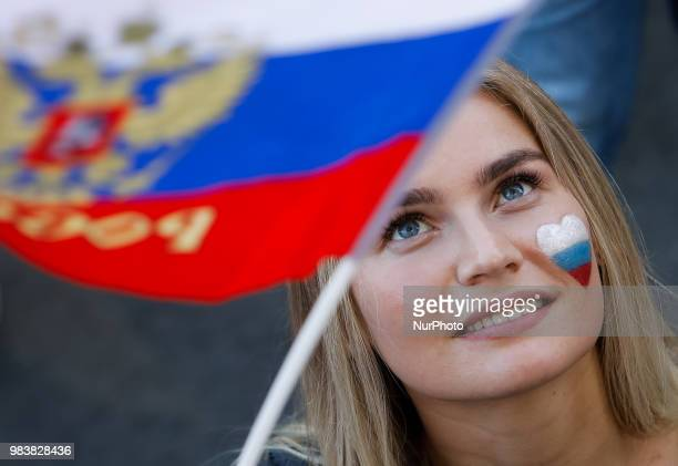 Russia supporter during the FIFA World Cup 2018 match between Russia and Uruguay on June 25 2018 at Fan Fest zone in Saint Petersburg Russia