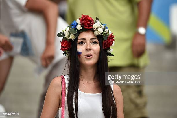 Russia supporter looks on ahead of the Euro 2016 group B football match between England and Russia at the Stade Velodrome in Marseille on June 11...