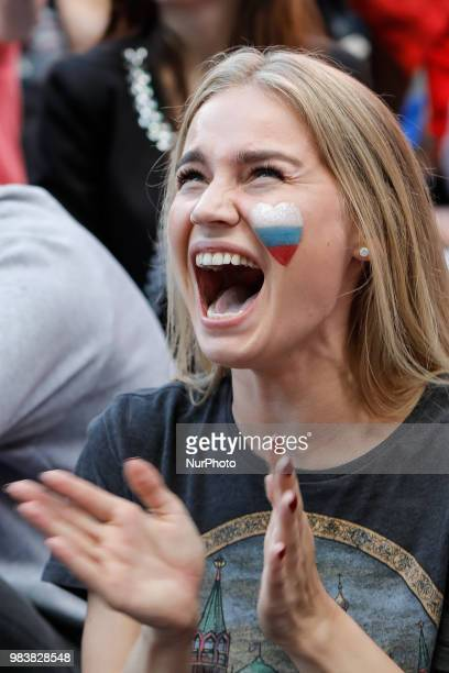 Russia supporter reacts during the FIFA World Cup 2018 match between Russia and Uruguay on June 25 2018 at Fan Fest zone in Saint Petersburg Russia