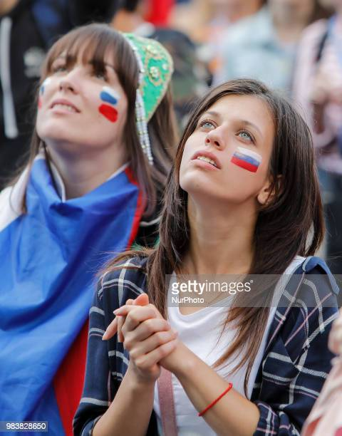 Russia supporters during the FIFA World Cup 2018 match between Russia and Uruguay on June 25 2018 at Fan Fest zone in Saint Petersburg Russia