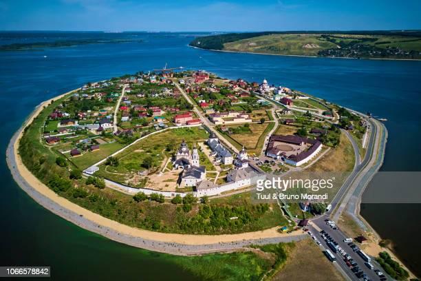 russia, tatarstan, kazan, panorama of island of sviyazhsk and orthodox monastery - kazan russia stock pictures, royalty-free photos & images