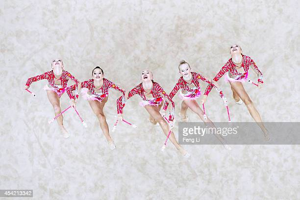 Russia team competes in Rhythmic Gymnastics Individual AllAround Qualification on day ten of the Nanjing 2014 Summer Youth Olympic Games at Nanjing...