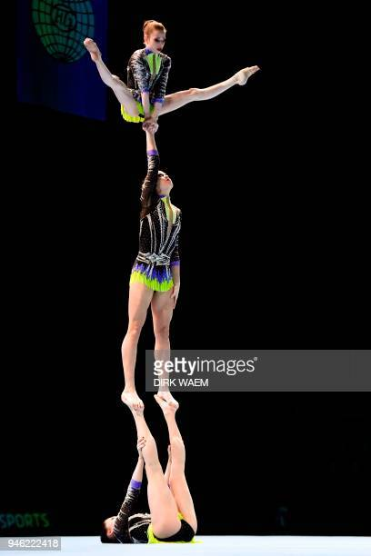 Russia team Daria Chebulanka Polina Plastinina and Kseniia Zagoskina compete in the final of the Women's Group competition on the second day of the...