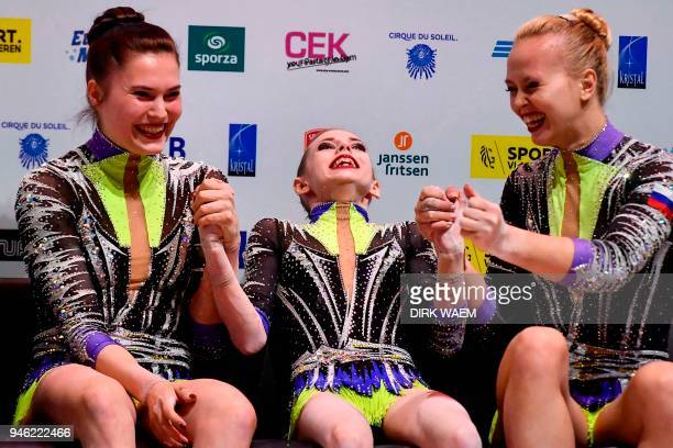 Russia team Daria Chebulanka Polina Plastinina and Kseniia Zagoskina celebrate after winning the gold medal on the second day of the 26th edition of...