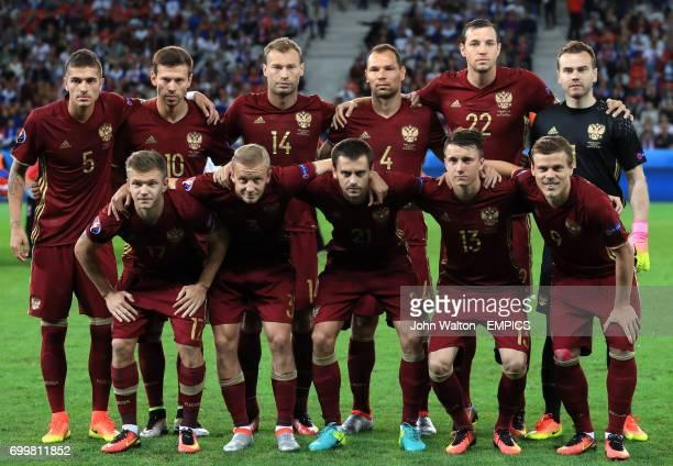 A Russia team group photo Russia's Roman Neustadter Fyodor Smolov Vasili Berezutski Sergei Ignashevich Artyom Dzyuba and goalkeeper Igor Akinfeev...