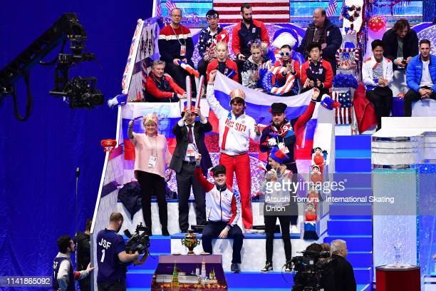 Russia team members cheer or VictoriaSinitsina and NikitaKatsalapov of Russia competing in the Ice Dance Rhythm Dance on day one of the ISU Team...