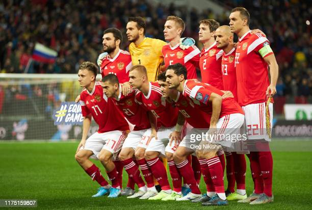 Russia team pose the UEFA Euro 2020 qualifier between Russia and Scotland on October 10, 2019 in Moscow, Russia.