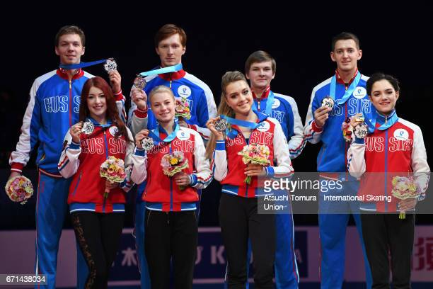 Russia team skaters pose on the podium with their silver medals during the 3rd day of the ISU World Team Trophy 2017on April 22 2017 in Tokyo Japan