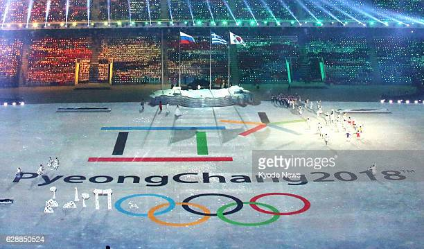 SOCHI Russia The logo for the 2018 Pyeongchang Winter Olympics is unveiled during the Closing Ceremony for the Winter Games at the Fisht Olympic...