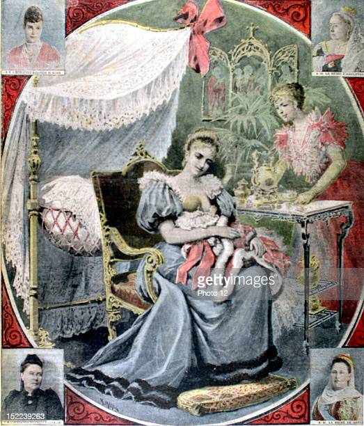 Russia The Tsarina breastfeeding Grand duchess Olga Portraits of the Queen of Greece and Queen Victoria In 'Le Petit journal' 1281895