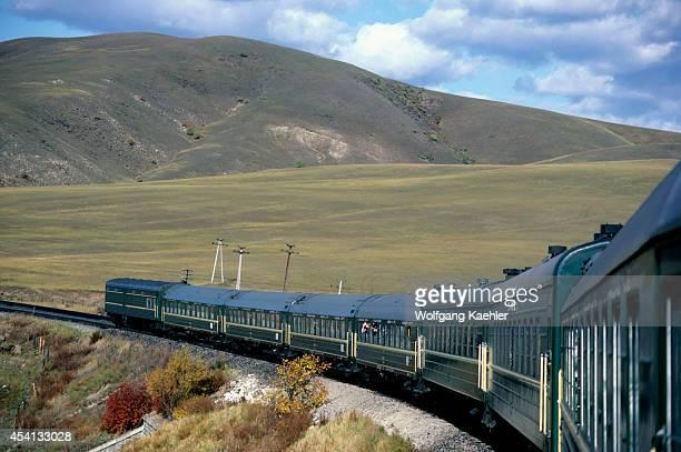Russia Transsiberian Railway Near Irkutsk Siberian Farmland Train