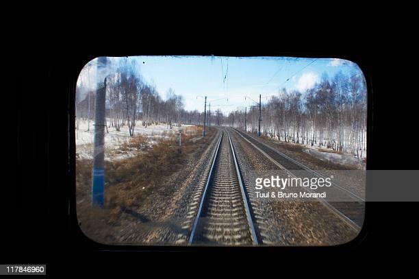 Russia, Trans-Siberian train through the window