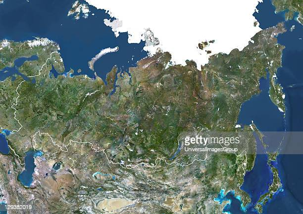 Russia true colour satellite image with border Composite image using data from LANDSAT 5 7satellites Russia True Colour Satellite Image With Border