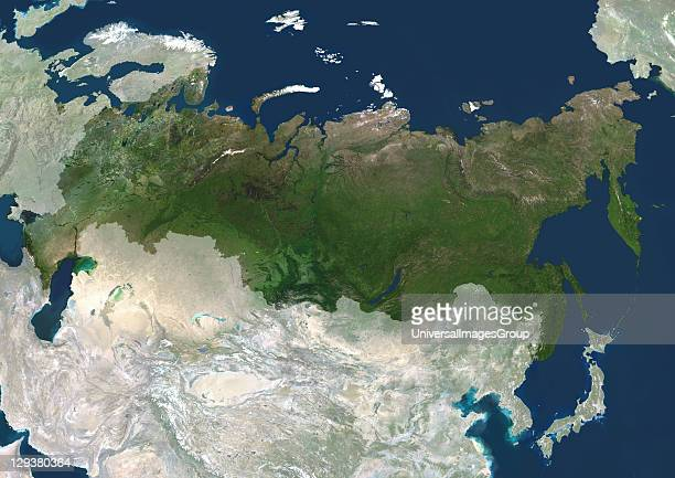 Russia true colour satellite image with mask The image used data from LANDSAT 5 7 satellites Russia True Colour Satellite Image With Mask