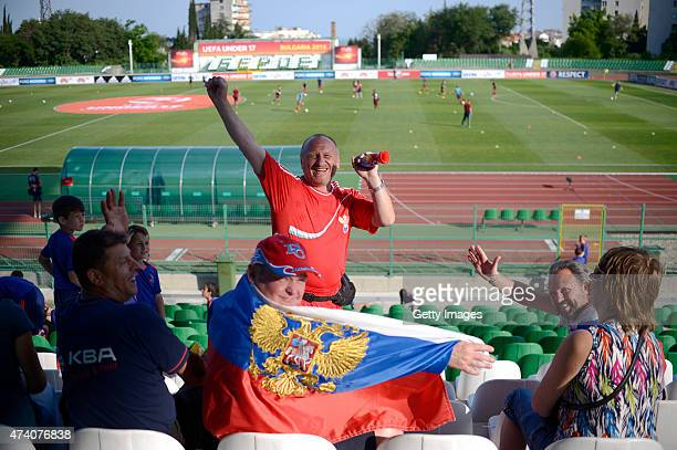 Russia U17 fans cheer prior the UEFA European Under17 Championship Semi Final match between Germany U17 and Russia U17 at Beroe stadium on May 19...