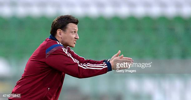 Russia U17 Head Coach Mikhail Galaktionov gestures during the UEFA European Under17 Championship Semi Final match between Germany U17 and Russia U17...
