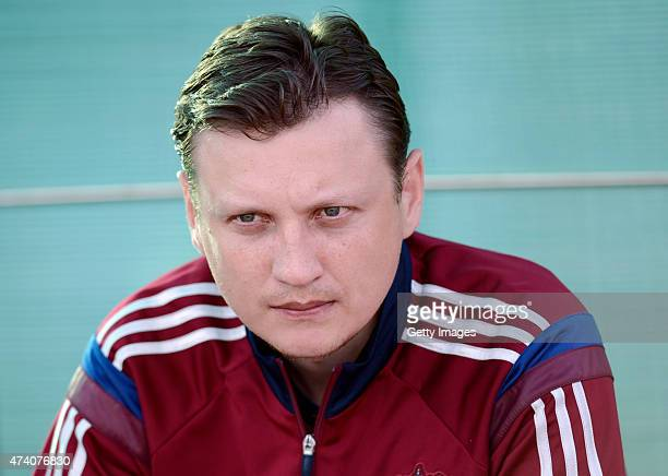 Russia U17 Head Coach Mikhail Galaktionov looks on prior the UEFA European Under17 Championship Semi Final match between Germany U17 and Russia U17...
