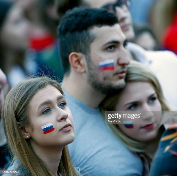 Russia v Croatia at fan fest FIFA World Cup Russia 2018 Russia supporters at Fifa fan fest in Moscow Russia on July 7 2018