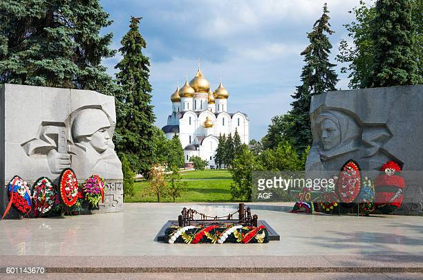 Russia Yaroslavl the garden with the soldiers monument and the Assumption Cathedra in the backgroundl