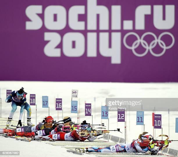 SOCHI Russia Yuki Nakajima of Japan competes in a shooting segment of the women's biathlon individual 15km event at the 2014 Sochi Winter Olympic...