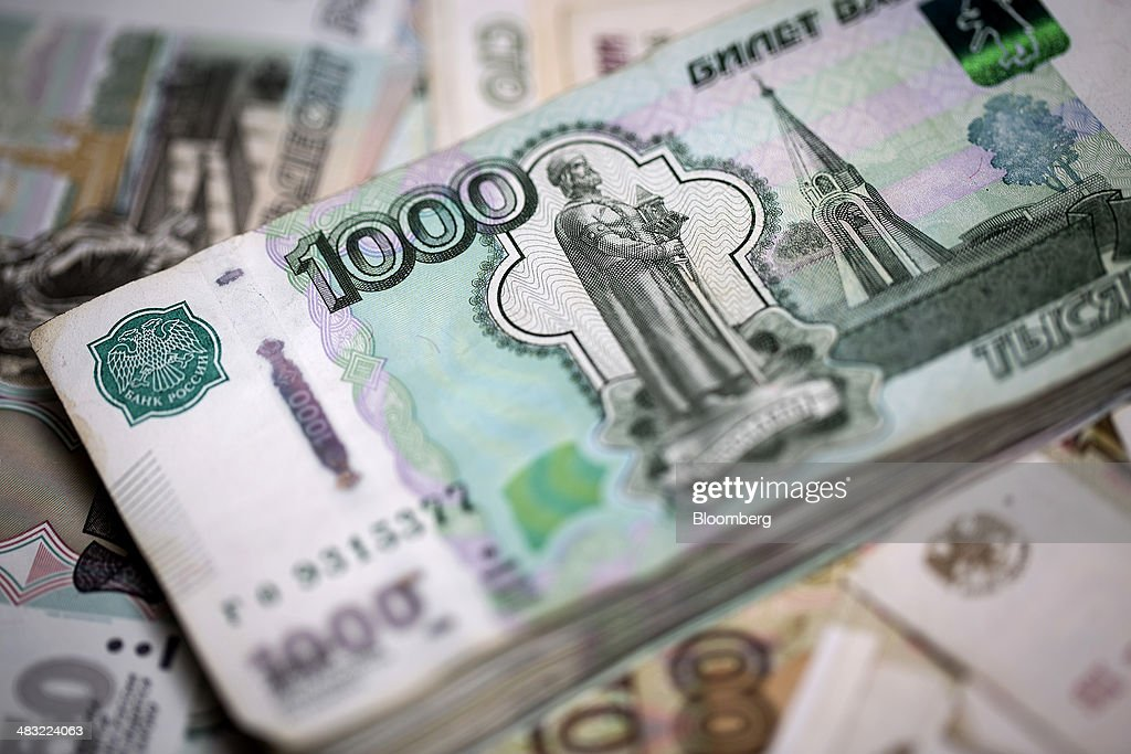 Ukrainian Hryvnia And Russian Ruble Currency Banknotes As Ukraine Tensions Rise : News Photo