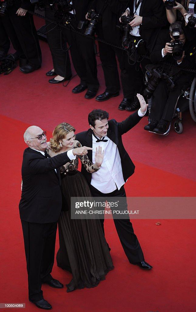 Russian actor and director Nikita Mikhalkov (L), Russian actress Nadezhda Mihalkova and Russian actor Oleg Menshikov arrive for the screening of 'Utomlyonnye Solntsem 2: Predstoyanie' (The Exodus - Burnt By The Sun 2) presented in competition at the 63rd Cannes Film Festival on May 22, 2010 in Cannes.