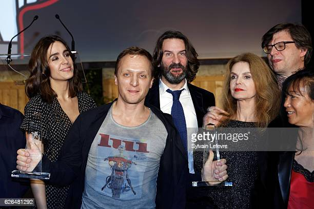 Russian actor Vladimir Mishukov Best Actor award poses with jury members Victoria Olloqui Frederic Beigbeder Cyrielle Clair Philippe Rouyer and...