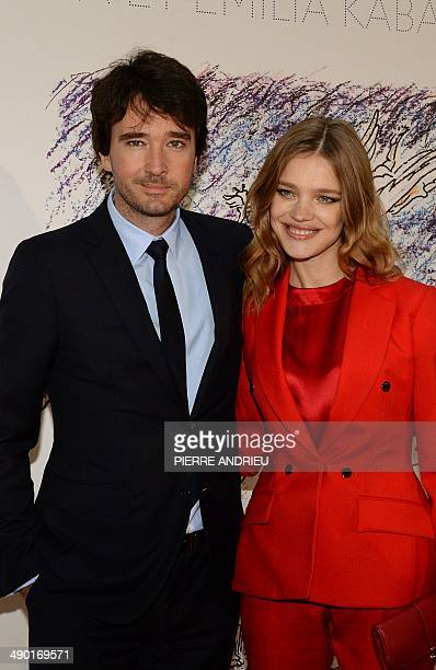 Russian actress and model Natalia Vodianova poses with her companion Antoine Arnault CEO of Berluti a subsidiary of luxury group LVMH as they arrive...