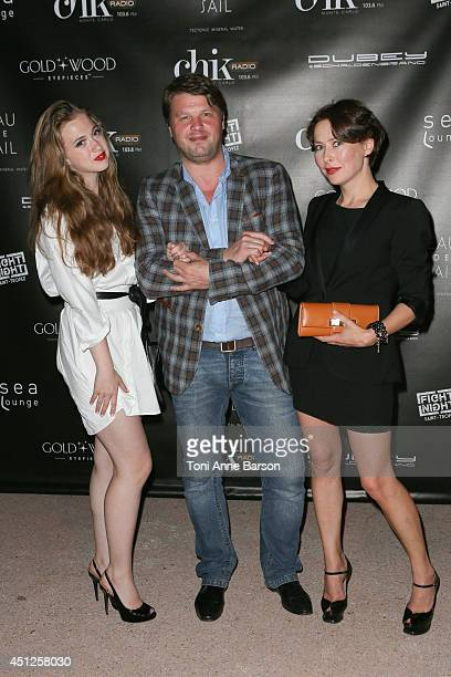 Russian Actress Producer Agata Gotova poses with actress Anna Klimkina and producer Boris Grif during the Chik Party at the Sea Lounge Beach Club on...