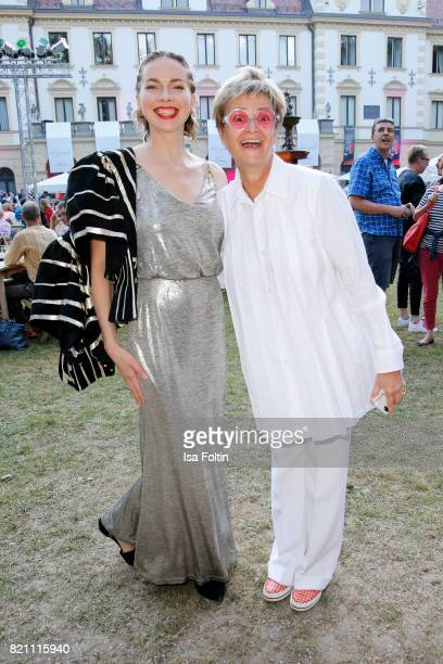 Russian actress Svetlana Dryga and Gloria von Thurn und Taxis during the Sting concert at the Thurn Taxis Castle Festival 2017 on July 22 2017 in...