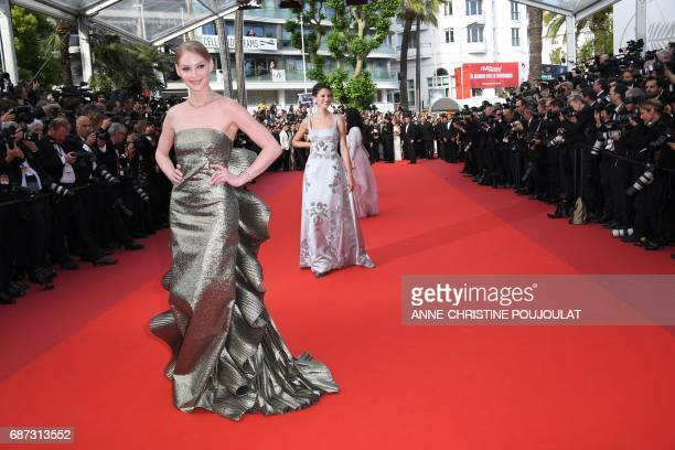 Russian actress Svetlana Khodchenkova and Italian model Bianca Balti pose as they arrive on May 23 2017 for the '70th Anniversary' ceremony of the...