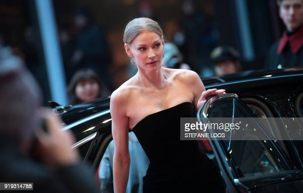 Russian actress Svetlana Khodchenkova arrives on the red carpet for the premiere of the film 'Dovlatov' in competition during the 68th Berlinale film...
