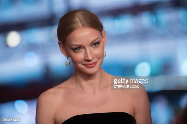 Russian actress Svetlana Khodchenkova poses as she arrives on the red carpet for the premiere of the film 'Dovlatov' in competition during the 68th...