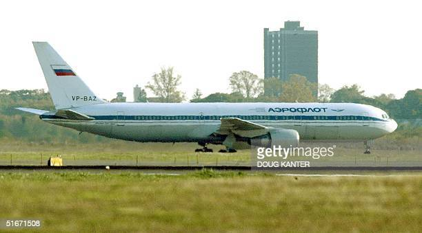 Russian Aeroflot airplane is moved from a remote location at John F Kennedy Airport 23 October in New York US federal agents acting on a tipoff from...