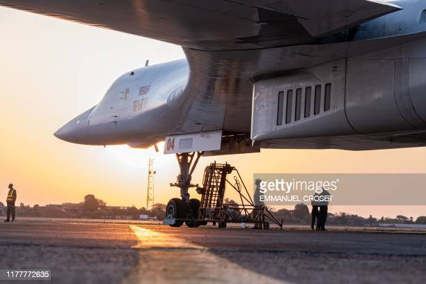 A Russian Air Force Tupolev Tu160 Blackjack a supersonic variablesweep wing heavy strategic bomber is parked on the tarmac at the Waterkloof Air...