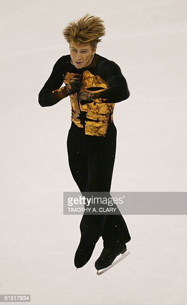 Russian Alexei Yagudin performs the men's free program at the Olympic Ice Center 14 February 2002 during the XIXth Winter Olympics in Salt Lake City...