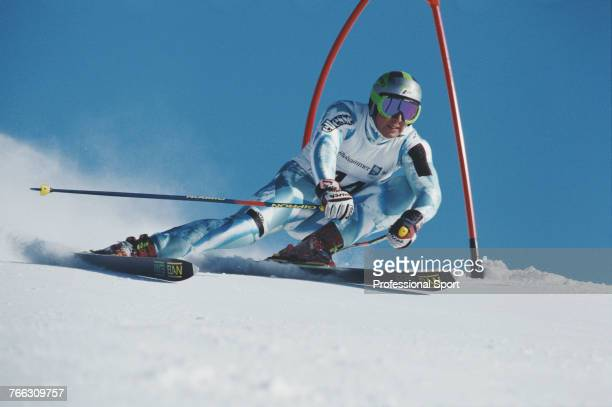 Russian alpine skier Andrey Filichkin pictured competing for the Russia team in the Men's giant slalom skiing event held at Hafjell during the 1994...