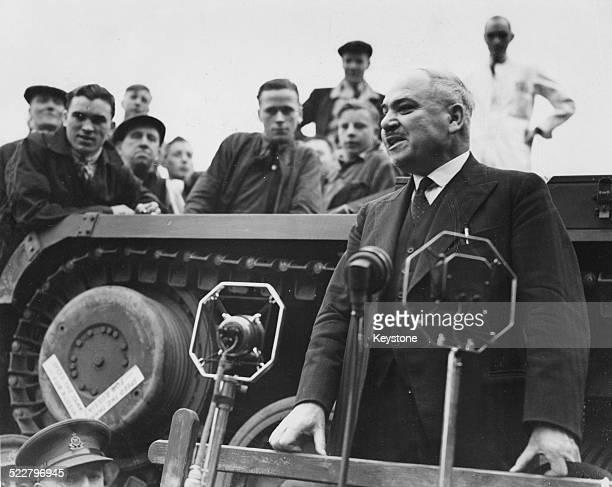 Russian Ambassador to London Ivan Maisky giving a speech to workers at a tank factory England September 22nd 1941