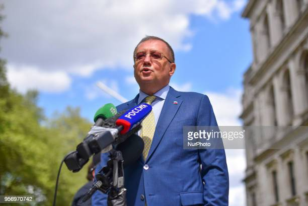 Russian ambassador to the UK Alexander Vladimirovich Yakovenko speaks to the media about the meeting he had at the Foreign Office regarding former...