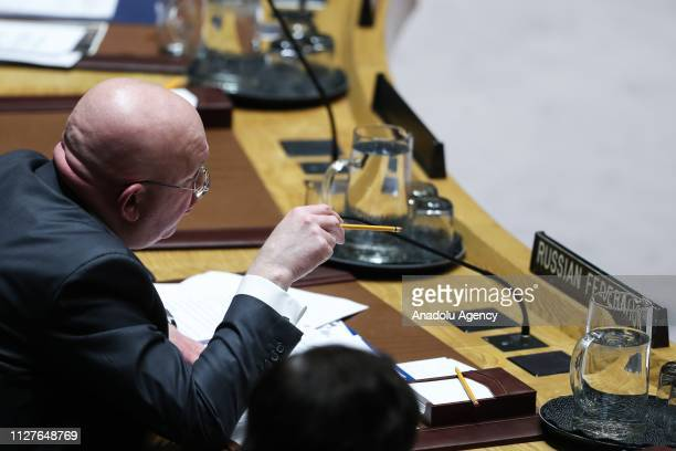 Russian Ambassador to the United Nations Vasily Nebenzya makes a speech during the Security Council on the situation in Venezuela at the United...