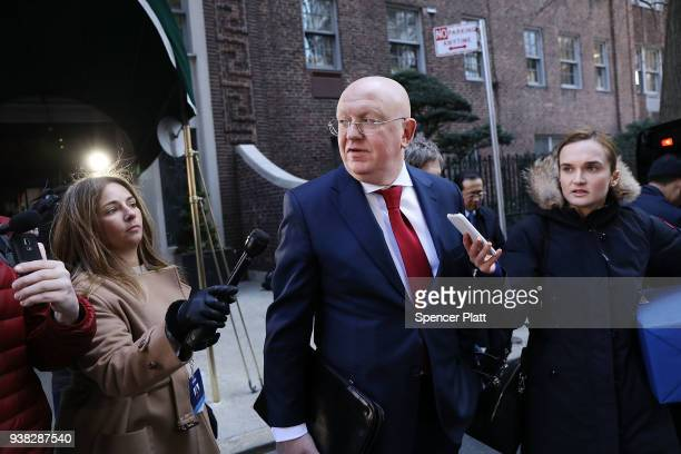 Russian Ambassador to the United Nations Vassily Nebenzia speaks to the media while leaving a United Nations lunch on March 26 2018 in New York...
