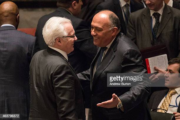 Russian ambassador to the United Nations Vitaly Churkin and Sameh Shoukry, Foreign Minister of Egpyt, speak after attending a United Nations Security...
