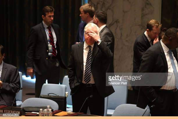 Russian Ambassador to the United Nations Vitaly Churkin prepares for an emergency session of the United Nations Security Council to discuss the...