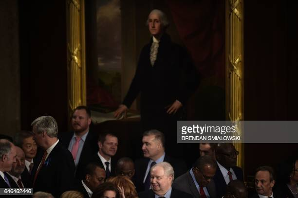Russian Ambassador to the US Sergey Kislyak waits with others to hear US President Donald Trump speak during a joint session of Congress on Capitol...