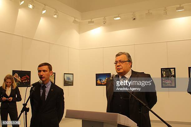 Russian Ambassador to Turkey Andrei Karlov gives a speech as he visits an art fair at Modern Art Center in Ankara Turkey on December 19 2016 Russian...