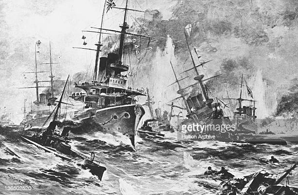 Russian and Japanese warships clash in the Straits of Tsushima at the Battle of Tsushima during the RussoJapanese War 27th28th May 1905