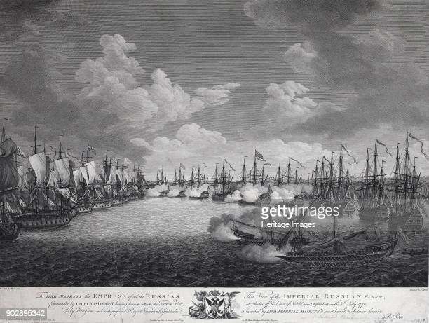 Russian and Turkish fleet before the Battle of Chesma on July 5 1770 Found in the Collection of State Hermitage St Petersburg