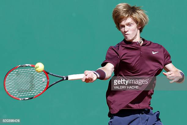 Russian Andrey Rublev hits a return to German Alexander Zverev during their MonteCarlo ATP Masters Series tournament tennis match on April 11 2016 in...